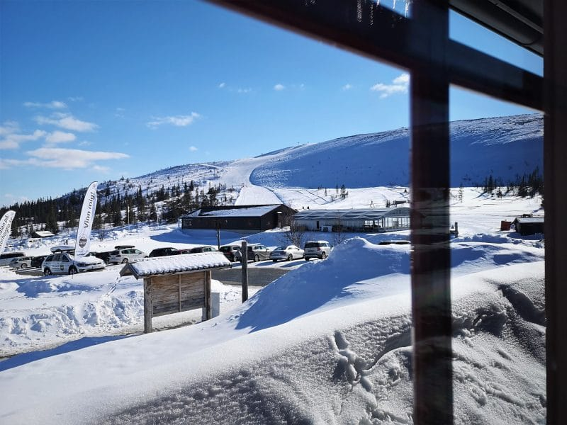 View from a window over Storhoga's ski slopes