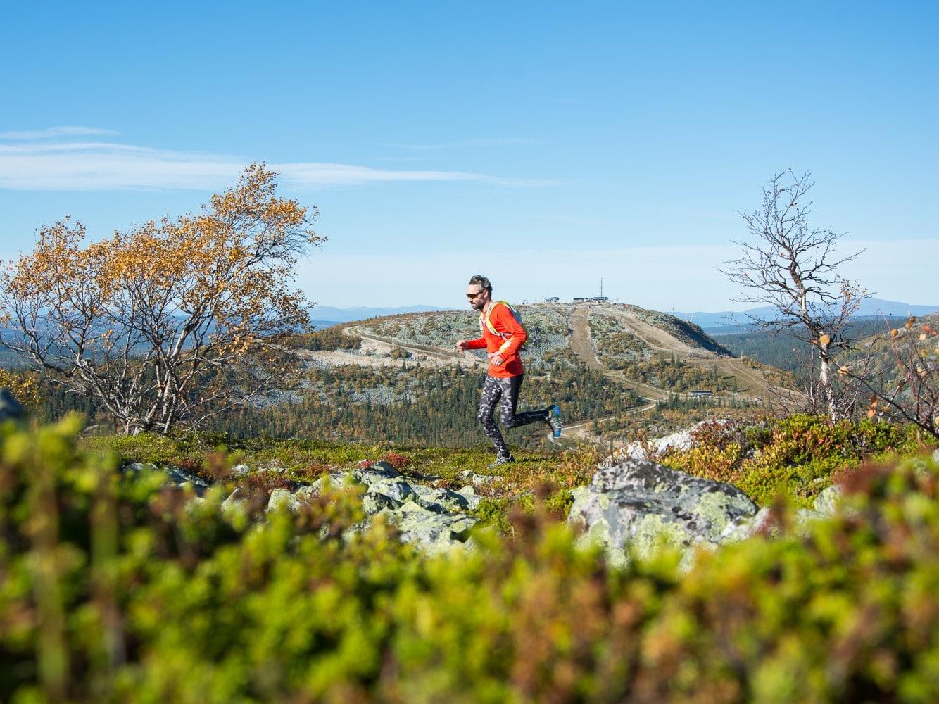 man running on the mountain in Vemdalen summertime