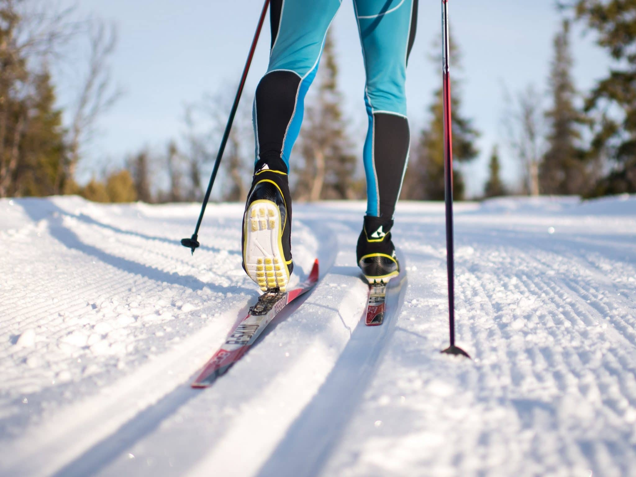 Cross-country skiers in cross-country trails in Vemdalen