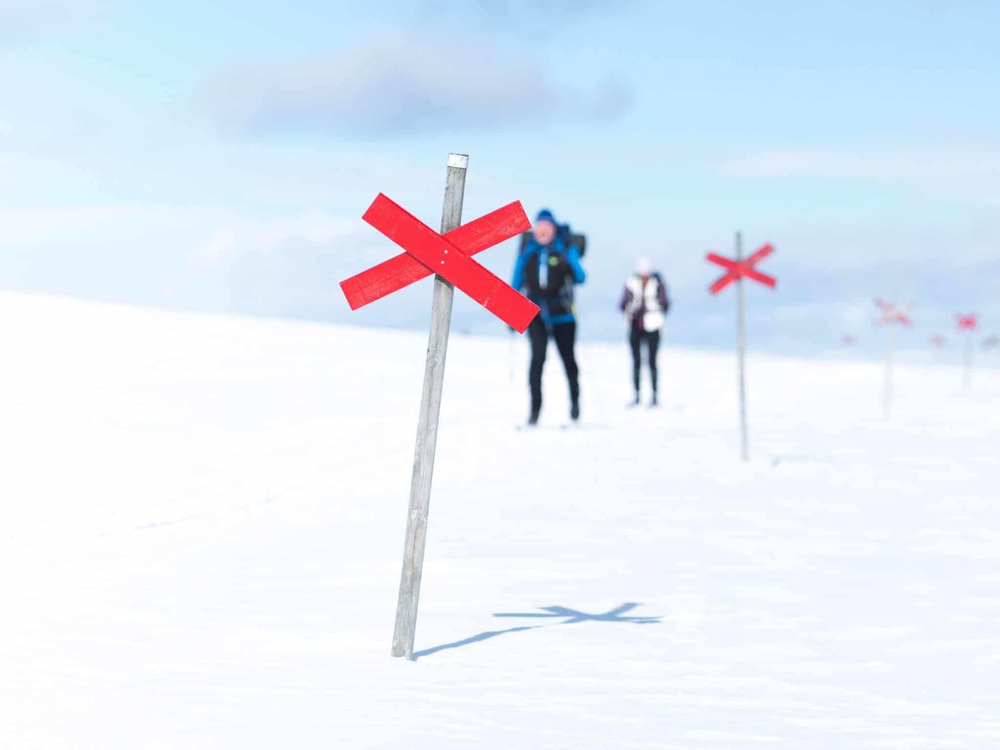 Två längdåkare på snöigt fjäll i Vemdalen